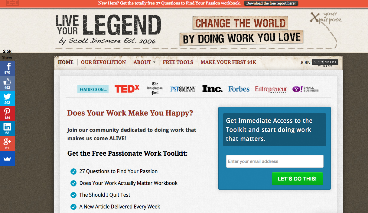 Live Your Legend right before new design homepage