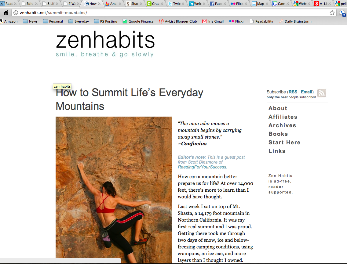 My first post on ZenHabits!