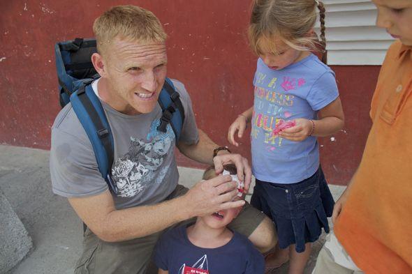 Managing a cut forehead from Antigua, Guatemala