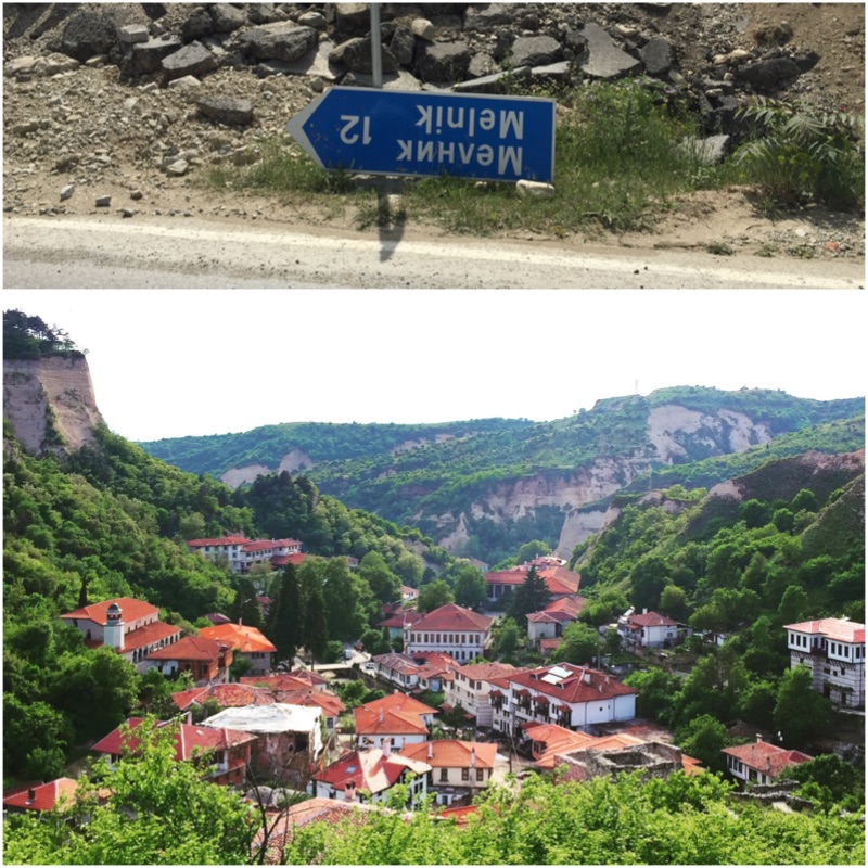 An upside down road sign on the way to the smallest town in Bulgaria